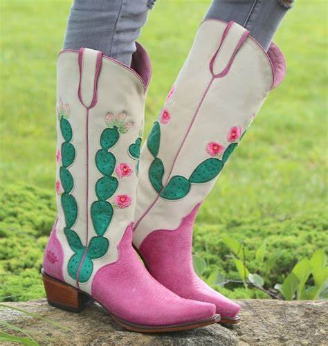 HARD TO HANDLE BOOTS Junk Gypsy by Lane Hard to Handle Green Cactus Pink Tall Western Boots 7.5