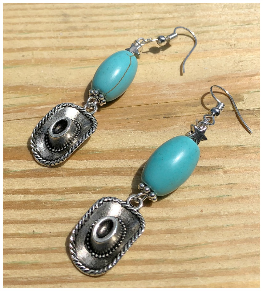 KEEP YOUR HAT ON EARRINGS Handmade Silver Cowgirl Hat Charm Star Turquoise Western Dangle Earrings