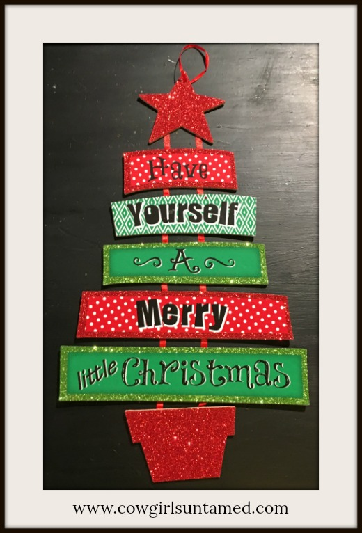 "COWGIRL CHRISTMAS DECOR Red and Green ""Have Yourself a Merry Little Christmas"" Tree Wall Hanging"