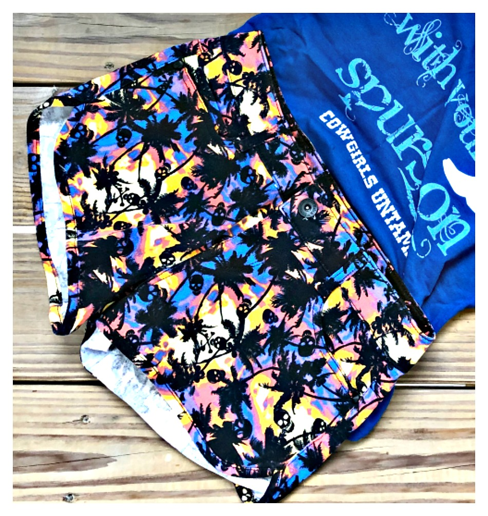 LOVESICK SHORTS Black Skulls and Palm Trees on Multi Color Jean Shorts  Sizes 3, 5, 7
