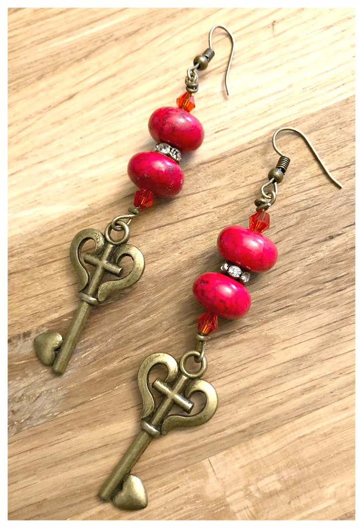 KEY to MY HEART EARRINGS Custom Red Turquoise Crystal Rhinestone & Heart Key Antique Bronze Long Dangle Earrings