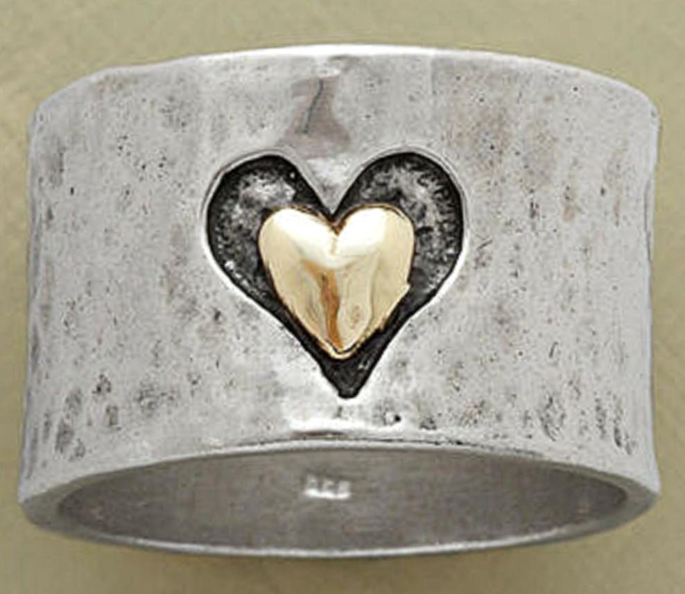REBEL LOVE RING 925 Silver Women Handmade Wide Band GOLD Heart Ring
