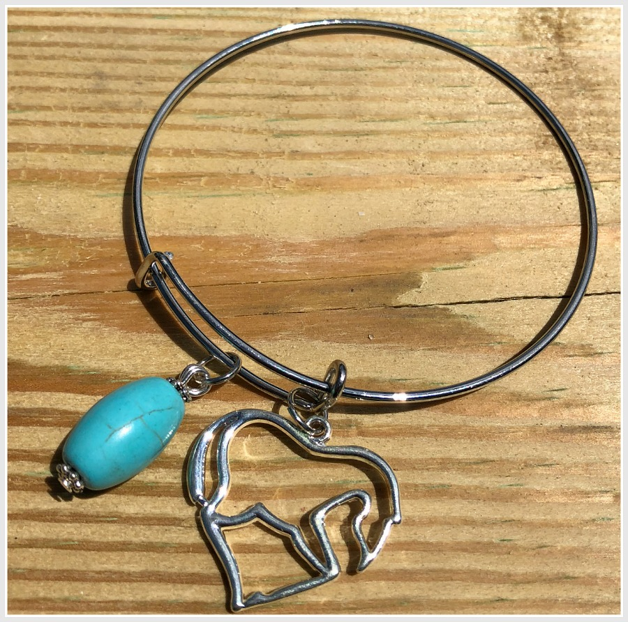 THE HORSE BANGLE Horse & Custom Turquoise Charm Silver Bangle Western Bracelet