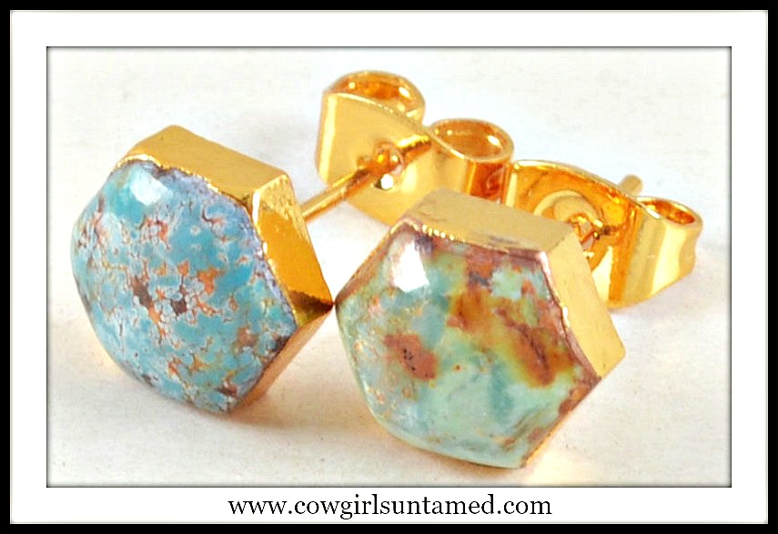 WESTERN COWGIRL EARRINGS Gold Plated Genuine Turquoise Stud Earrings
