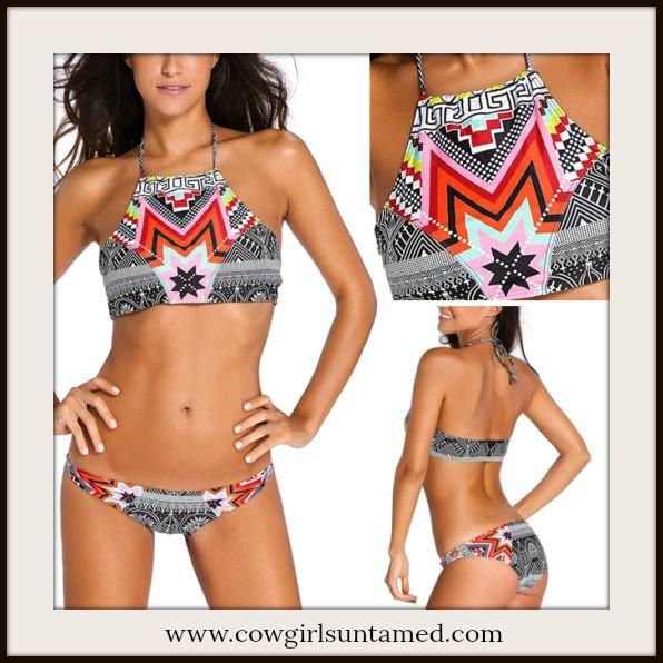 WILDFLOWER BIKINI Aztec High Neck Halter Style Bikini