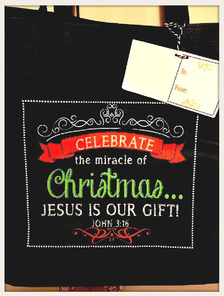 """HOLIDAY BAG """"Celebrate the Miracle of Christmas Jesus is Our Gift"""" Chalkboard Style Tote FREE Tissue"""