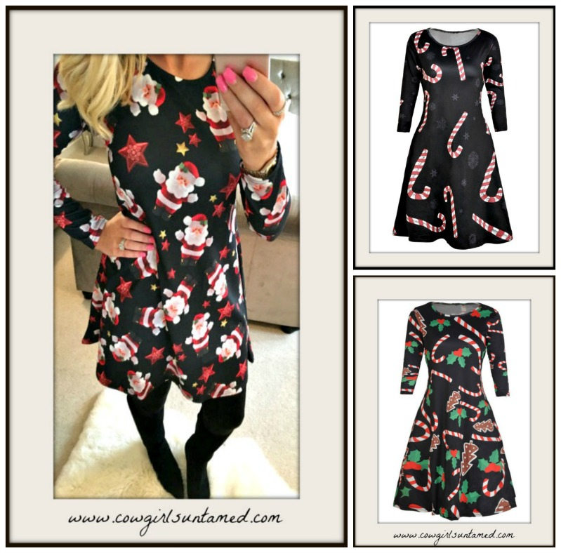 HOLIDAY DRESS Long Sleeve A-Line Christmas Confetti Black Mini Dress  3 STYLES!