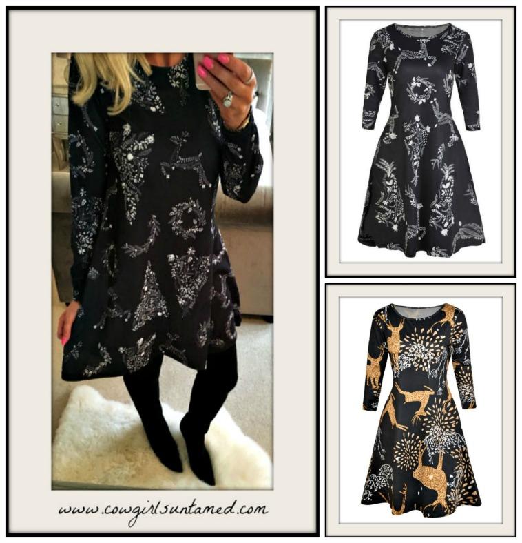 WINTER TIME DRESSES Long Sleeve A-Line Deer Print Mini Dress  2 Styles!