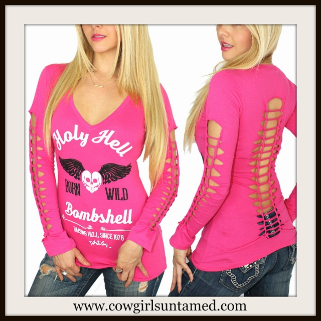 """DEMI LOON TOP Hot Pink Slashed Long Sleeve """"Holy Hell Bombshell Born Wild"""" Top"""