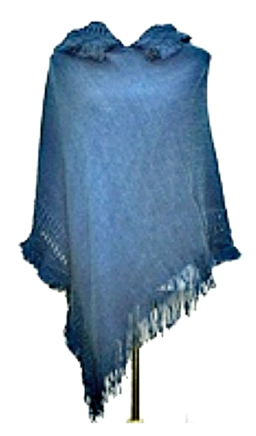 COWGIRL GYPSY SWEATER Fringe Knit Cobalt Indigo Blue Hooded Western Poncho Sweater