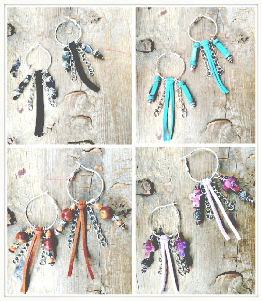 TASSEL EARRINGS Handmade Unique Leather Tassel Silver Chain Charm Hoop Earrings 4 COLORS