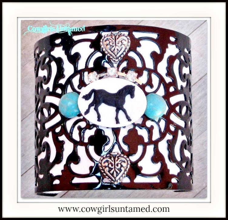 HORSE LOVIN' COWGIRL CUFF Horse Rhinestone & Turquoise on Black Filigree Metal White Western Cuff Bracelet