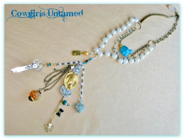 COWGIRL JUNK GYPSY NECKLACE Upcycled Silver Spoon with Brass Horse Head Pendant with Rhinestones adn Charms Western Necklace