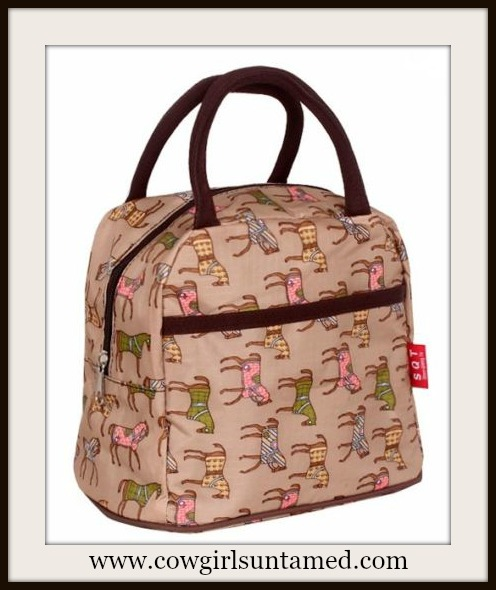 WESTERN COWGIRL BAG Colorful Horse Print Nylon Double Handle Bag