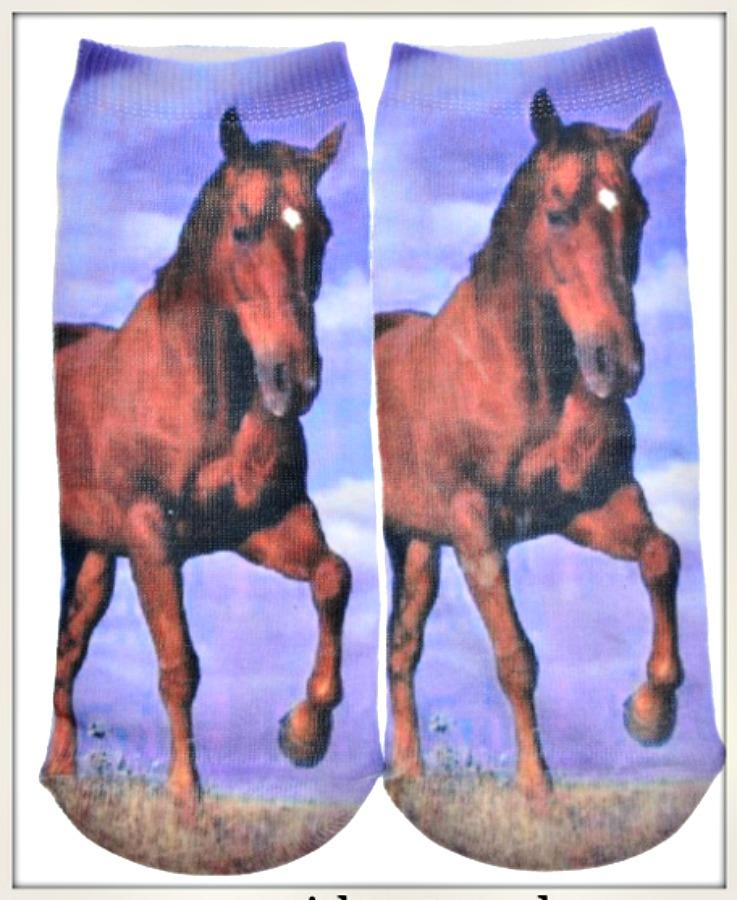 WESTERN COWGIRL SOCKS Brown Horse Image Blue Ladies Socks