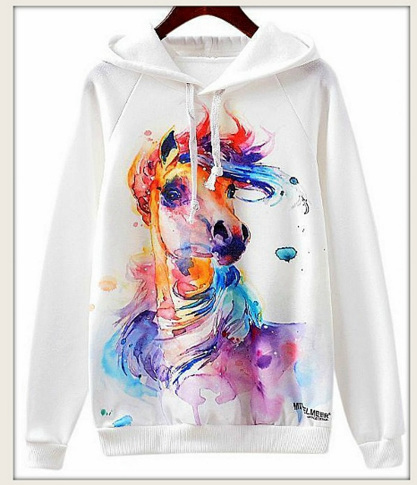 WESTERN COWGIRL SWEATSHIRT Rainbow Horse Art on White Pullover Hoodie