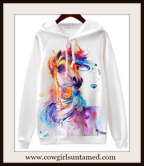 WESTERN COWGIRL SWEATSHIRT Rainbow Horse Art on White Pullover Hoodie