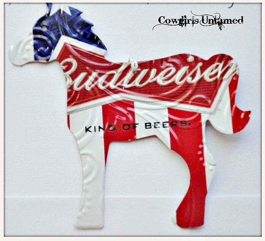 HOLIDAY HOME DECOR Red White Blue Big Budweiser Beer Horse Western Decor Ornament