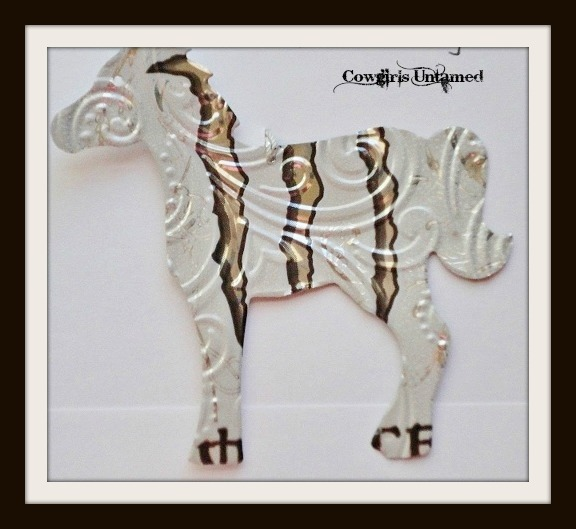 COWGIRL CHRISTMAS DECOR Silver White Black Monstar Can Tin Horse Western Christmas Tree Ornament