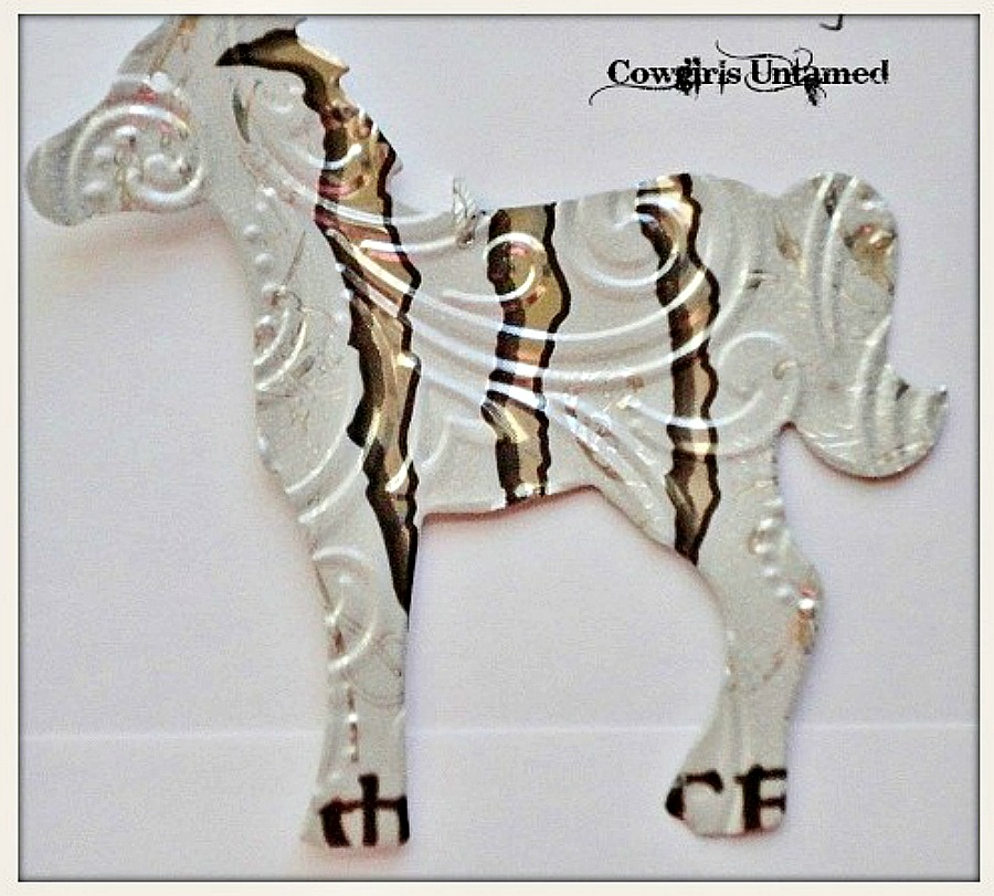 HOLIDAY HOME DECOR Silver White Black Monster Can Tin Horse Western Christmas Tree Ornament