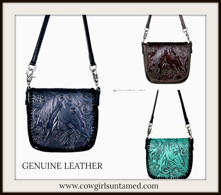 COWGIRL STYLE CROSSBODY Horse Embossed GENUINE LEATHER Crossbody Bag 3 COLORS!