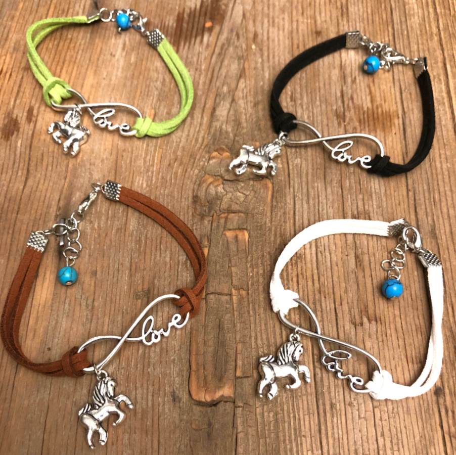 """HORSE ADDICT BRACELET Silver """"LOVE"""" Infinity & Horse Turquoise Charm Suede Leather Bracelet 4 COLORS"""