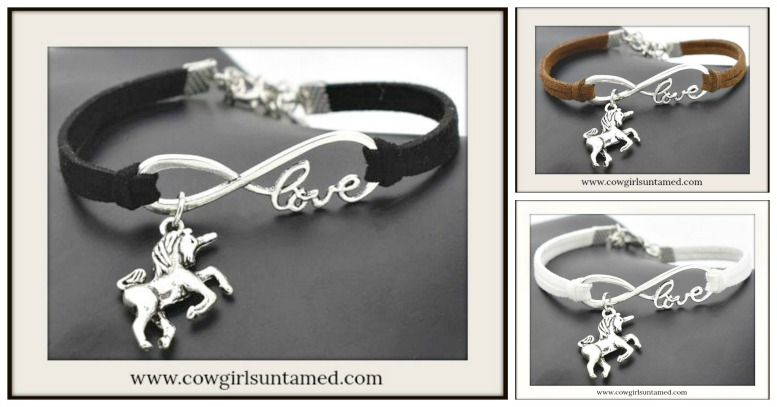 "BE UNIQUE BRACELET Silver ""LOVE"" Infinity & Unicorn Charm Suede Bracelet"