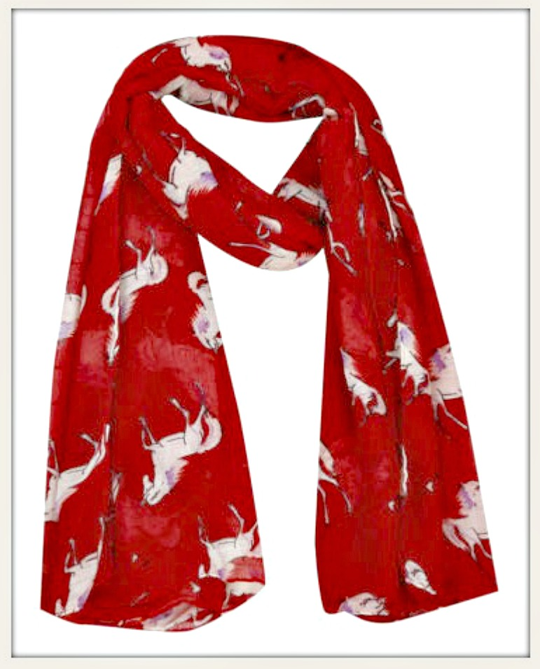 WESTERN COWGIRL SCARF White Horses on Red Long Scarf