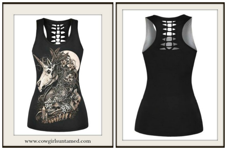 COWGIRLS ROCK TOP Floral Cross Feather on Unicorn Skeleton Braided Back Tank Top