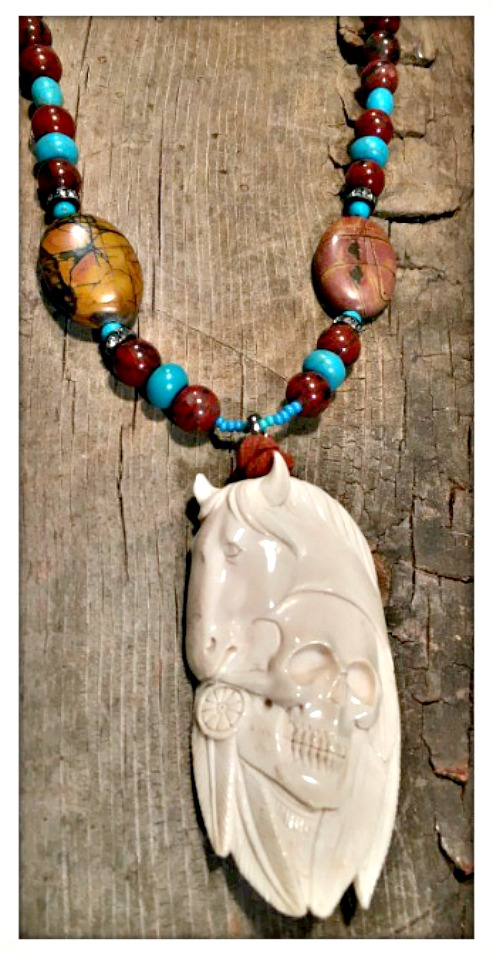 GYPSY SOUL NECKLACE Bone Carved Horse & Skull Pendant on Genuine Turquoise Jasper Boho Necklace