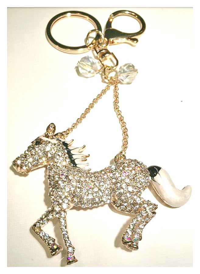 HORSE LOVIN' COWGIRL KEYCHAIN Beautiful Black and White Enamel and Golden Rhinestone Horse Keychain