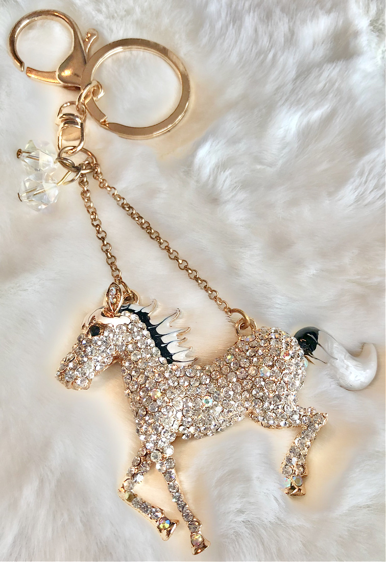 HORSE LOVIN' COWGIRL KEYCHAIN Beautiful Black and White Enamel Golden Rhinestone Horse Keychain w/ Crystal Charm LAST ONE