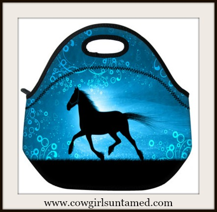 WESTERN COWGIRL HOME Black Horse Silhouette on Blue Lunch Bag Cooler Tote