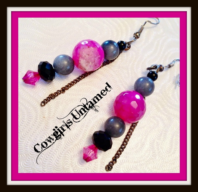 COWGIRLS ROCK EARRINGS Hot Pink Black and Grey Gemstone with Chain Sterling Silver Earrings