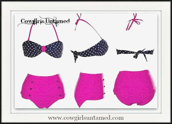 COWGIRL PINUP BIKINI Hot Pink with Black N' White Polka Dot Top Bikini Set