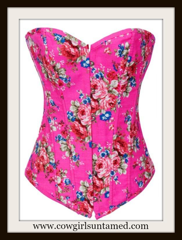 14bbe03527 Floral Denim Lace Up Back Corset Bustier Top