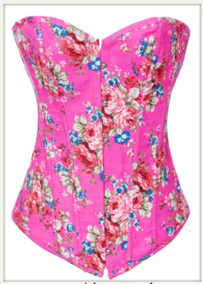 CORSET - Hot Pink Denim Floral Lace Up Western Corset Bustier Top and FREE Thong