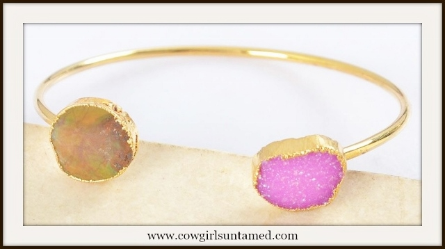 WILDFLOWER BRACELET Hot Pink Sprakling Druzy & Turquoise Gold Plated Bangle