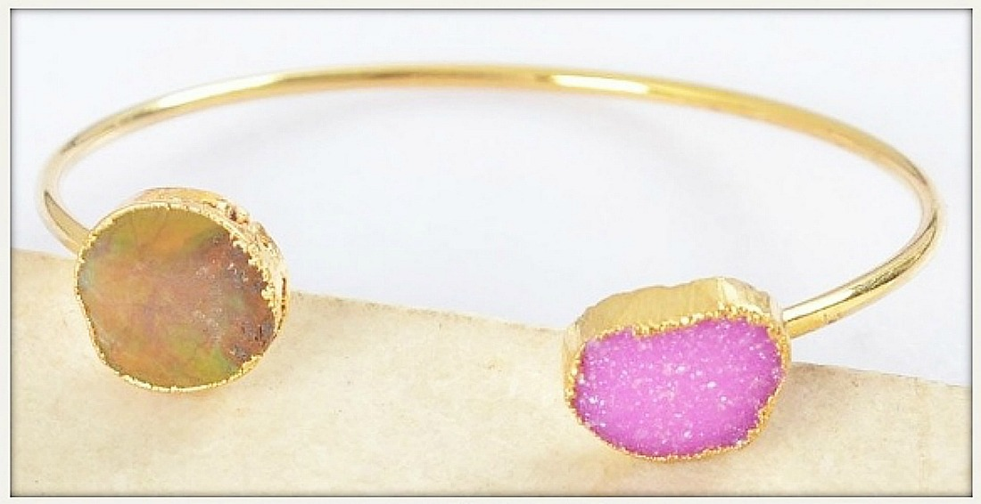 WILDFLOWER BRACELET Hot Pink Sparkling Druzy & Turquoise Gold Plated Bangle