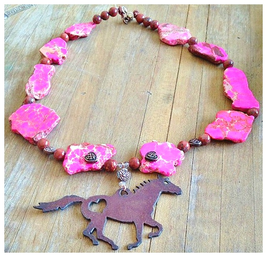 WESTERN COWGIRL NECKLACE Rustic Horse N' Copper Heart Pendant on Hot Pink & Brown Gemstone Necklace