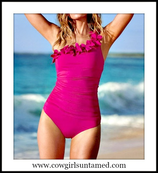 SOUTHERN BELLE SWIMSUIT Hot Pink Ruffled One Shoulder Ruched Bathing Suit