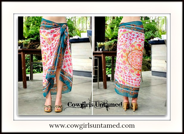 COWGIRL GYPSY COVER UP Hot Pink Lime Green Teal and Orange Boho Bikini Cover Up Skirt