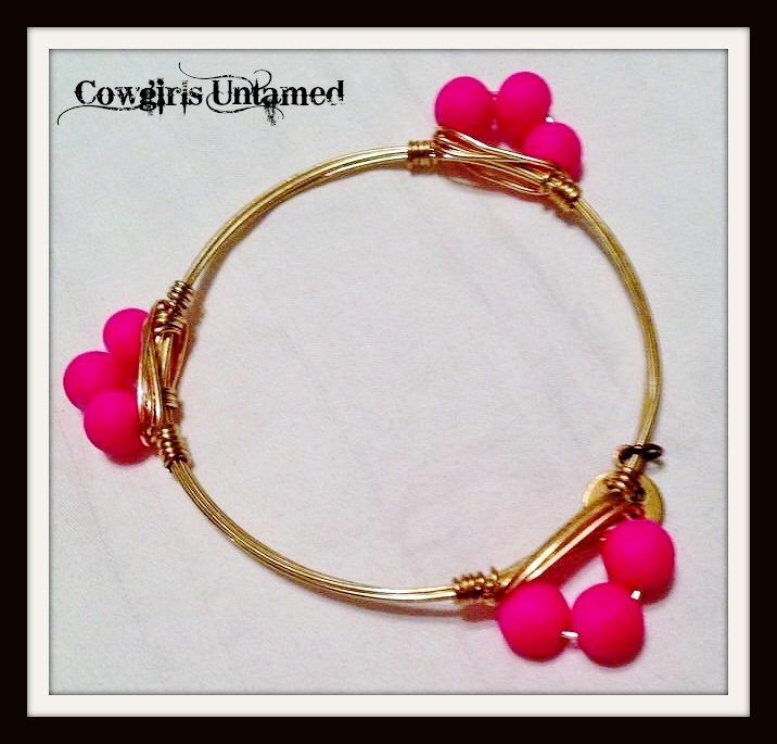 COWGIRL GLAM BRACELET Hot Pink on Gold Western Bangle Bracelet