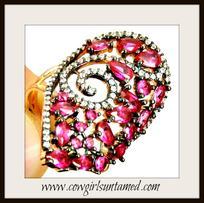 VINTAGE BOHEMIAN RING Ruby and Topaz Rose Gold Vintage Style Ring
