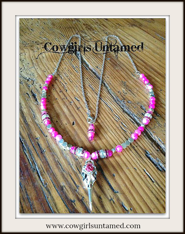 COWGIRL STYLE NECKLACE Silver Crow Skull Pendant Hot Pink Silver Crystal Beaded Necklace