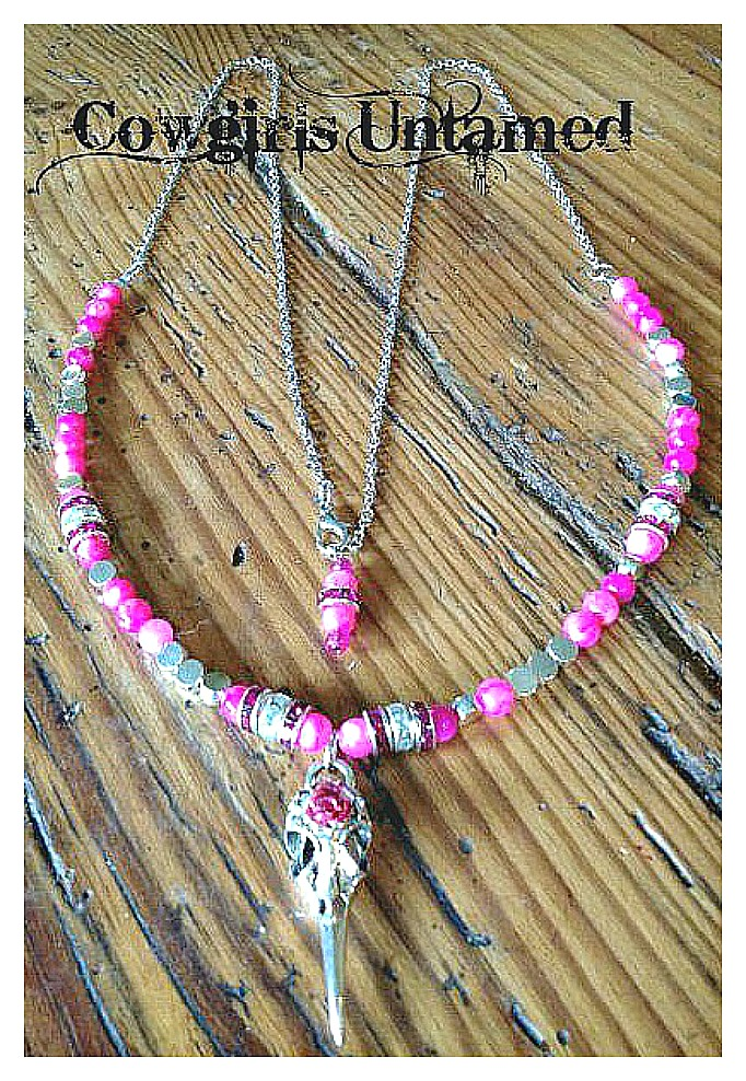 RODEO REBEL NECKLACE Silver Crow Skull Pendant Hot Pink Silver Crystal Beaded Necklace