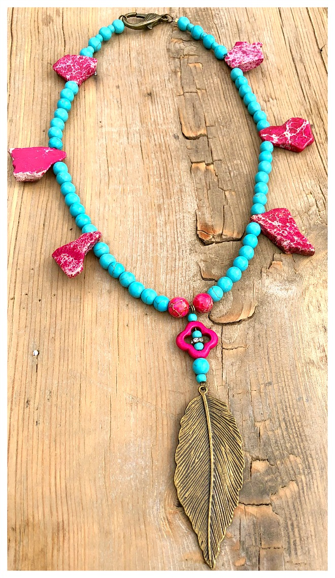 THE SONORAN PINK DESERT Antique Bronze Feather Pendant on Aqua & Hot Pink Turquoise Beaded Boho Cowgirl Necklace