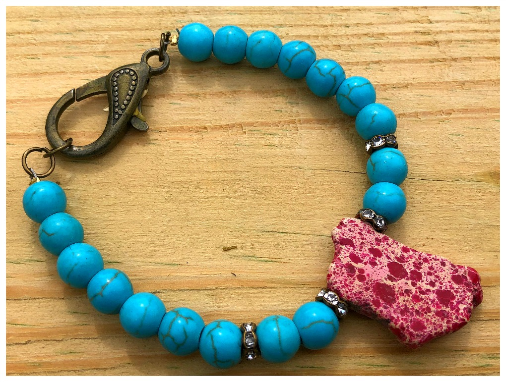 THE SONORAN PINK DESERT BRACELET Antique Bronze Rhinestone  Aqua & Hot Pink Turquoise Beaded Boho Cowgirl Bracelet