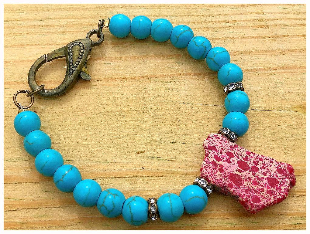 THE SONORAN PINK DESERT BRACELET Antique Bronze Rhinestone  Aqua & Hot Pink Turquoise Beaded Boho Cowgirl Bracelet