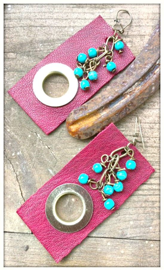 JUNK GYPSY EARRINGS Deep Red Leather Bronze Ring Turquoise Charm Long Earrings